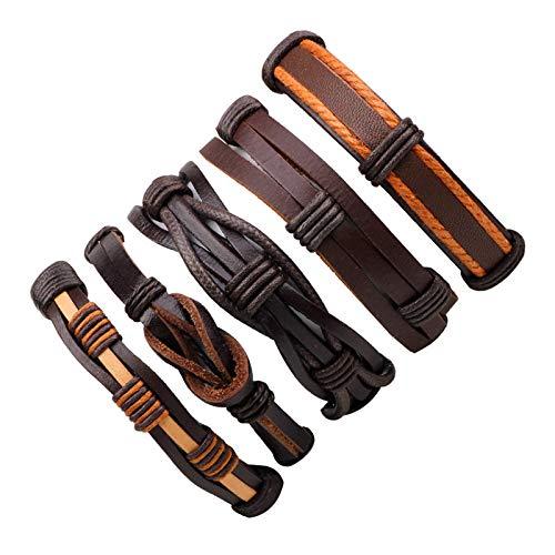 YUNMENG Handgemachte ethnische Stammes-echte Wrap charmante männliche Pulsera schwarz geflochtene Lederarmbänder Armreifen -