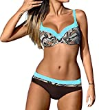 OverDose Damen Padded Push-up-BH Gemusterte Schlinge Bikini Set Badeanzug Badeanzug Bademode Beachwear Badeanzüge(Blau,XL)