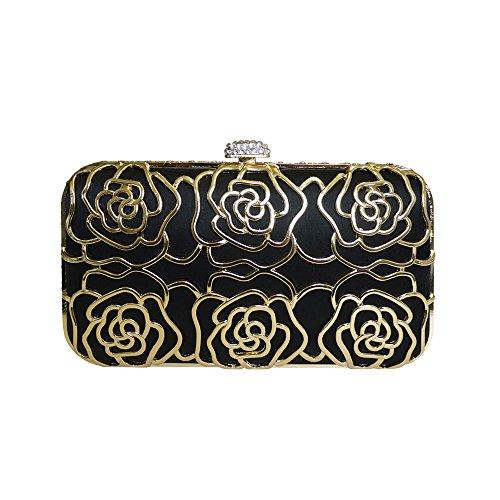 Anna Cecere Italienisch Entwickelt Rosa Juwel Clutch Abendtasche - Schwarz (Jeweled Damen Handtasche)