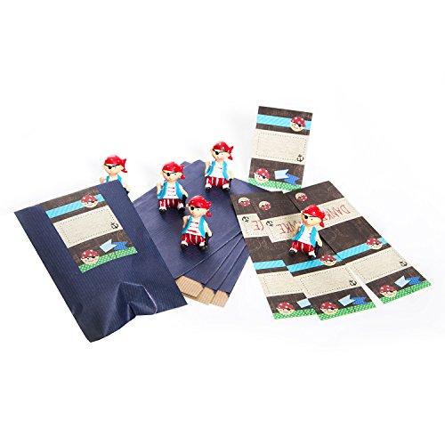 5 Stück Mitgebseltüten mit roten Piraten 4,5 cm - inkl. 5 blaue Geschenktüten 9,5 x 14 cm + 5 Piratenaufkleber! Papiertüten Geschenktüten Geburtstagstüten zum Kindergeburtstag für Jungen. - 5 Stück Piraten