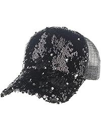 INTERNET Gorras unisex de malla de lentejuelas hombres de las mujeres de moda gorra de béisbol