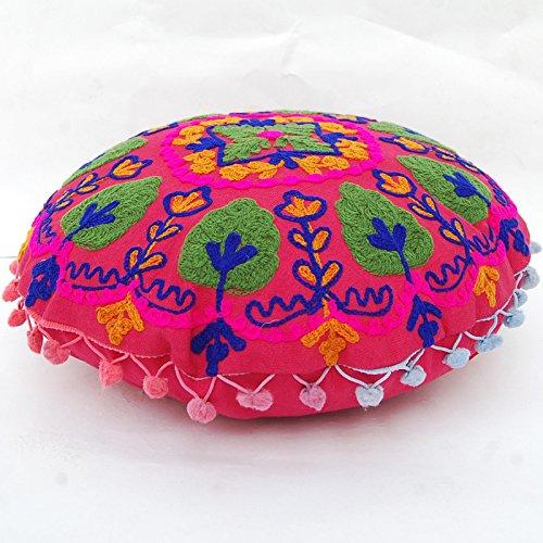 CRAFTOFPINKCITY 2 Stück Baumwolle osmanischen indischen Suzani Kissenhülle handgefertigt rund Pouf 40,6 cm Größe Kissen Fall -