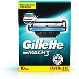 Gillette Mach 3 Shaving Blades - Pack of 10 (Cartridges)