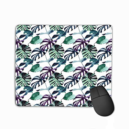 Non-Slip Thick Rubber Large Mousepad 11.81 X 9.84 Inch Bright Tropical Cute Lovely Wonderful Hawaii floral Herbal Beach Summer Green Blue Violet Pattern Palms