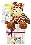 MamboCat Warmies Geschenkset - Kuscheltier Giraffe Giraffana mit Lavendelduft Wärmekissen + Edle Geschenkverpackung + Büchlein mit spannenden Kindergeschichten