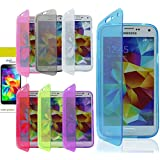WALLET FLIP TPU SILICONE GEL CASE COVER FOR SAMSUNG GALAXY S5 i9600 & SCREEN PRO (Clear)