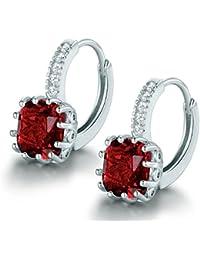 MASOP Charming Huggie Hoop Earrings for Women 925 Sterling Silver with Colorful Cushion Cut CZ Birthstone Drop