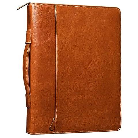 STILORD 'Justus' Vintage Conference Folder with Handle A4 Leather Portfolio Document Folder Sophisticated Vintage Design fit for 13,3 MacBooks genuine leather, Colour:cognac / brown - Pelle Cartella Sottile