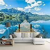 Photo de Mur Papier Peint Salle Bleu Ciel Blanc Nuages En Bois Pont Lac Eau Nature Paysage 3D Space Art Peinture Murale Décoration par AELAHER