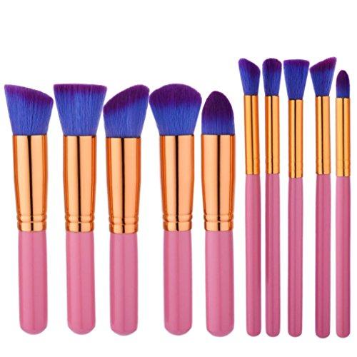 Preisvergleich Produktbild YanHoo Bürste 10 STÜCKE Make-Up Foundation Augenbrauen Eyeliner Erröten Kosmetische Concealer Pinsel Puder Augenschminke EIN Schere Pusher Trimmer 2018 Pinsel Set