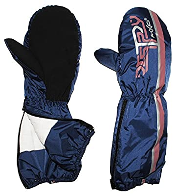 Handschuhe mit langem Schaft - Reißverschluß - Thermo gefüttert Thermohandschuh - dunkelblau / blau - Größen: 2 bis 12 Jahre - wasserdicht + atmungsaktiv Thinsulate / mit Reflektor - Fausthandschuh Handschuh für Kinder / Mädchen