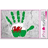 pinkelephant Aufkleber / Autoaufkleber - Wales - linke Hand - Fahne - 10 cm x 9,5 cm - finger print palm slap linke Handabdruck mano