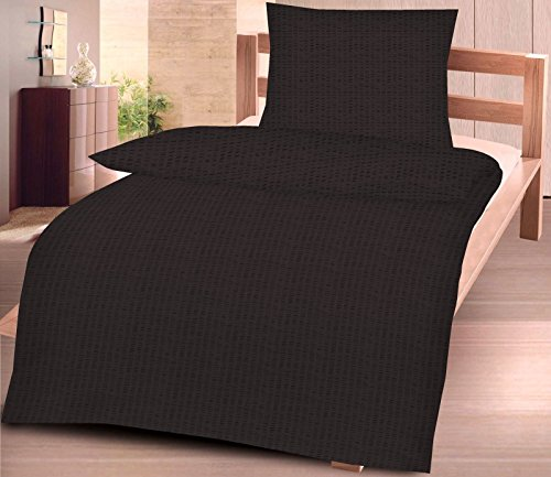 2tlg Baumwoll Seersucker Bettwäsche Set in 135x200cm + 80x8 cm in UNI Einfarbig Schwarz NEU mit RV