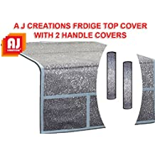 Aj Creations Silver Decorative Fridge Top Cover And 2 Fridge Handle Covers