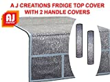 #5: Aj Creations Silver Decorative Fridge Top Cover And 2 Fridge Handle Covers