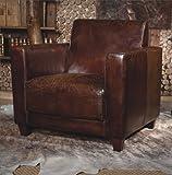 Phoenixarts Echtleder Vintage Sessel Ledersessel Braun Antik Design Lounge Retro Sofa Möbel 441