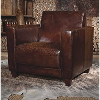 Phoenixarts Echtleder Vintage Sessel Ledersessel Braun Design Lounge