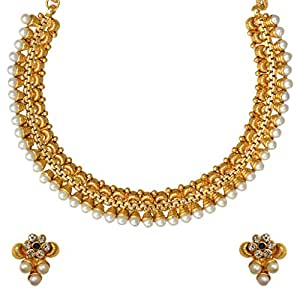 Adiva Kundans Wedding Blue Copper Alloy Jewellery Set With Necklace And Earring For Women