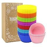 40 Stück Silikon Muffinformen Backform Cupcake Muffinförmchen Silikon Muffin Form in 8 leuchtende Farben,40 runde Formen, Backformen Nahrungsmittelgrad