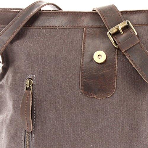 Leconi Borsa a tracolla borsa a tracolla Vintage Uomo e Donna Canvas Vintage Style pelle bovina 31x 30x 8cm le3040–C grau / dunkelbraun