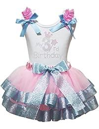 Petitebelle mi Tercer cumpleaños Camiseta de Volantes de Color Rosa Azul pétalos Falda Outfit ...