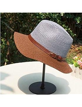 LVLIDAN Sombrero para el sol del verano Lady Anti-Sol Playa plegable sombrero de paja azul cielo