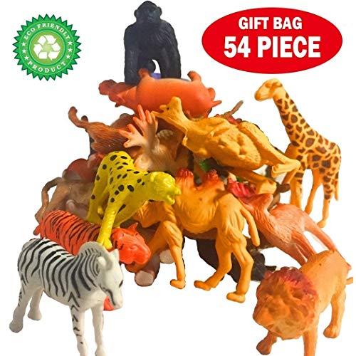 54 Stück Tierfiguren-Set, darunter Bauernhöfe, Wälder, Wiesen, Seen Tiere für Jungen und Mädchen Kinder Kleintiere Spielzeug