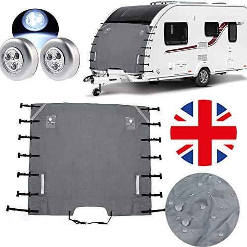 Caravan bugschutzplane - wohnwagen abdeckung mit 2 LED-Leuchten, wohnmobil frontscheibenabdeckung abdeckung wohnmobil mit verbesserte