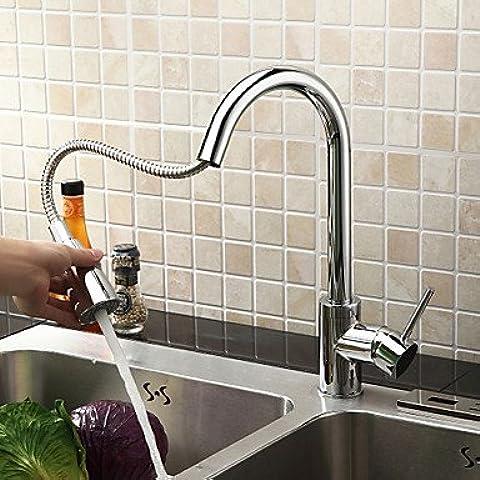 Rubinetto da cucina rubinetti lavello da cucina lavello rubinetto rubinetto moderno estraibile Spray in ottone cromato miscelatore