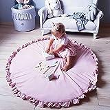 Kinderteppich, Baby krabbeln Matte Neugeborenes Baby Padded Spiel Matten Baumwolle Krabbeln Mat Spiel Teppiche Runde Boden Teppich(A)