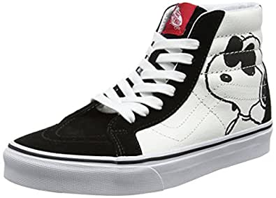edfdea71fa Vans Unisex SK8-Hi Reissue (Peanuts) Joe Cool Black Leather Sneakers -