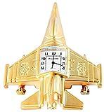 Royaltime Analog Miniaturuhr Tischuhr Standuhr mit Quarzwerk und Motiv Düsenjet 300402000089 Goldfarbiges Gehäuse 9,5 cm
