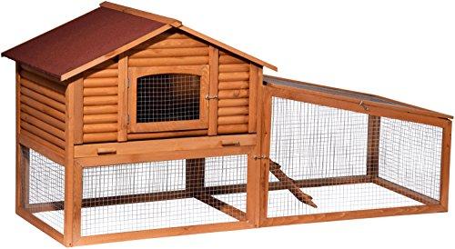 """dobar 23492FSC Großer Kaninchenstall """"Blockhaus"""" mit Freilaufgehege, aus massivem FSC Holz für draußen, XL Hasenstall, 196 x 78 x 98 cm, braun"""