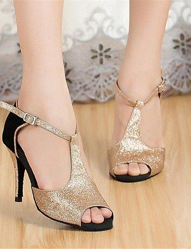 La mode moderne Non Sandales Chaussures de danse pour femmes personnalisables en daim/Paillette Talon Black/Gold US8/EU39/UK6/CN39