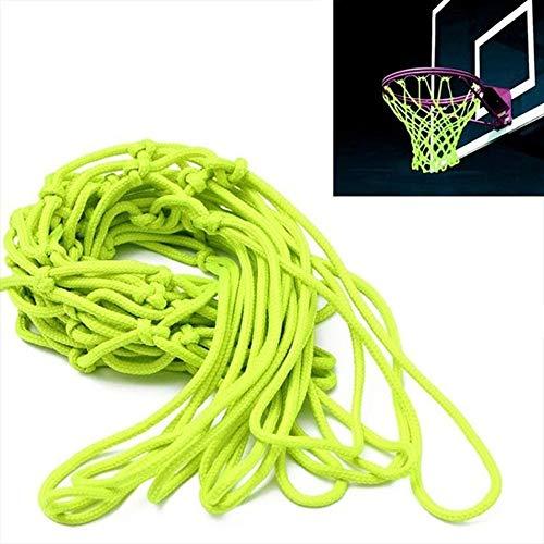 Mingfa Basketballnetz, leuchtet im Dunkeln, für drinnen und draußen, Nylon, geflochten, professionell, strapazierfähig, Standard-Hoop-Netz, grün