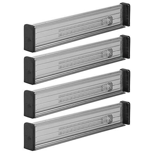mDesign 4er-Set Schubladen-Organizer - Dank Verstellbarer Trennelemente Schublade organisieren - Schubladeneinsatz für Küche, Bad oder Schlafzimmer - rauchgrau