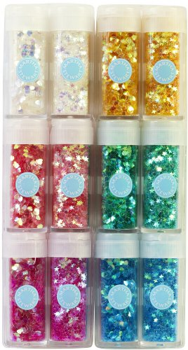 51LPWfrNN3L - Martha Stewart Iridescent Shaped Glitter 12 pezzi