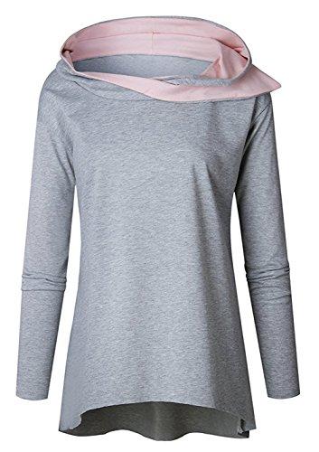 Freestyle Sweats À Capuche Chemisiers Haut Pulls Tops À Manches Longues Encapuchonné Sweat-Shirt Blouse Femmes Automne Hiver Gris