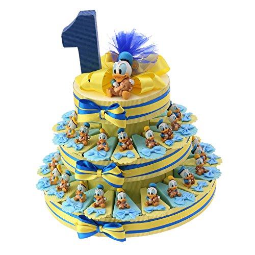 Bomboniere nascita battesimo primo compleanno paperino disney statuina torta portaconfetti … (35 pezzi)