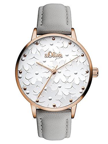 s.Oliver Damen Analog Quarz Uhr mit Leder Armband SO-3467-LQ