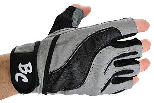 Bad Company I Fitness Handschuhe Grey Panther I Trainingshandschuhe aus Leder I Inkl. Handgelenksbandagen I Gr. L