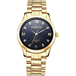 ShoppeWatch Mens Gold Watch IP Plated Metal Bracelet Black Dial Crystal Markers Reloj de Hombres SWCX013AGDBK