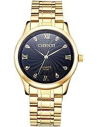Shoppewatch Homme Montre IP cadran noir bracelet en métal plaqué or cristal Marqueurs reloj de hombres SWCXGDBK