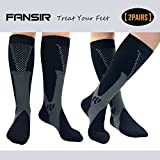 (2 Pairs)Compression Socks / Stockings for Men & Women,Better Blood Circulation, Prevent Blood Clots, Speed Up Recovery BEST Graduated Athletic Fit for Running, Nurses,Medical Use,Shin Splints (XXL Black)
