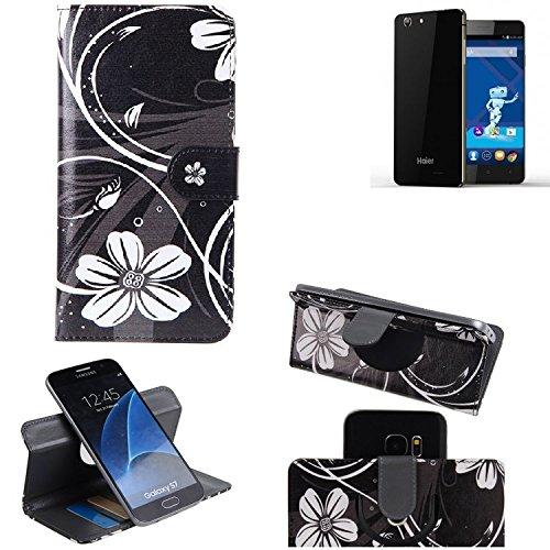K-S-Trade Schutzhülle für Haier Phone L53 Hülle 360° Wallet Case Schutz Hülle ''Flowers'' Smartphone Flip Cover Flipstyle Tasche Handyhülle schwarz-weiß 1x