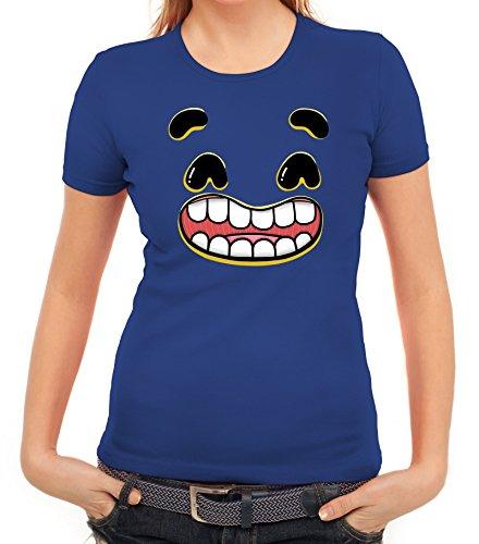 Lustiges Cartoon Emoji Damen T-Shirt mit Funny Faces - Happy 2 Motiv Royal Blau