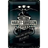 Nostalgic Art Harley Davidson Things Are Different - Placa decorativa, metal, 20 x 30 cm, color gris