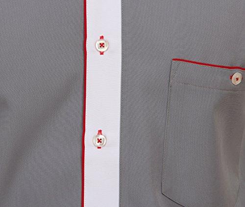 Rustikales Hemd in Grau, für Herren BESTE QUALITÄT, HK Mandel Freizeithemd Langarm Normal Nicht Tailliert, 2082 Grau