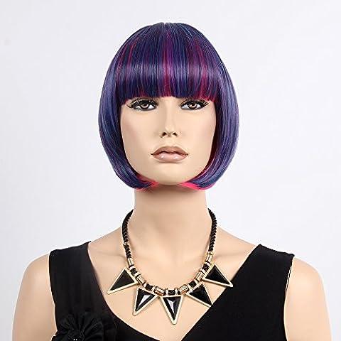 Stfantasy des Perruques pour femme courte droite résistant à la chaleur Cheveux synthétiques Perruque carré 30,5cm 110g Peluca gratuit Cheveux Net + Clips, Bordeaux Bleu Rose