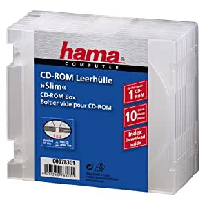 hama Boîtier vide CD/DVD Slim Case PP tranparent archivable Pack de 10